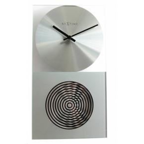 NeXtime 3028 OP Clock [16x30.2 cm, Glass, Silver]