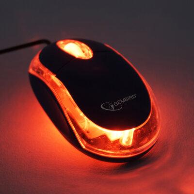 *showmodel* PC of laptop optische muis USB, zwart/transparant op=op