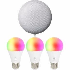 WOOX R1000 Smart Speaker Kit 3x R4553 + 1x Google Nest Mini Chalk [RGB LED Bulb, E27, 7W, 600LM]