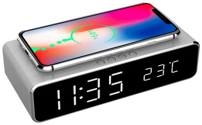 Opruiming Digital alarm clock (with wireless charging function) Silver