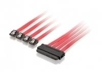 Equip 112050 SATA Internal Power Cable [Molex 4-pin -> SATA 15-pin, M/M, Straght, 0,15m, Red]