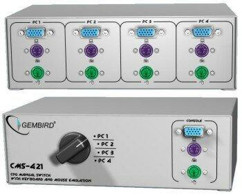 Gembird Handmatige switch voor 4 toetsenborden en muizen (PS2)