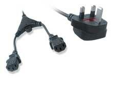 CableXpert UK geaard dubbel netsnoer (C13), 2 meter
