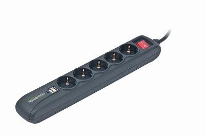 EnerGenie Stekkerdoos met schakelaar, 5 voudig, 2x USB, 1.5 meter, zwart